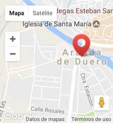 mapa de Aranda de Duero, donde se indica donde se encuentra la delegación de consultoría en la Plaza Mayor
