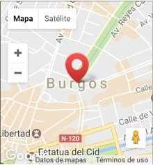 mapa de burgos con un marcador en la zona donde se encuentra la delegación de Burgos, al lado de la Avenida de la Paz