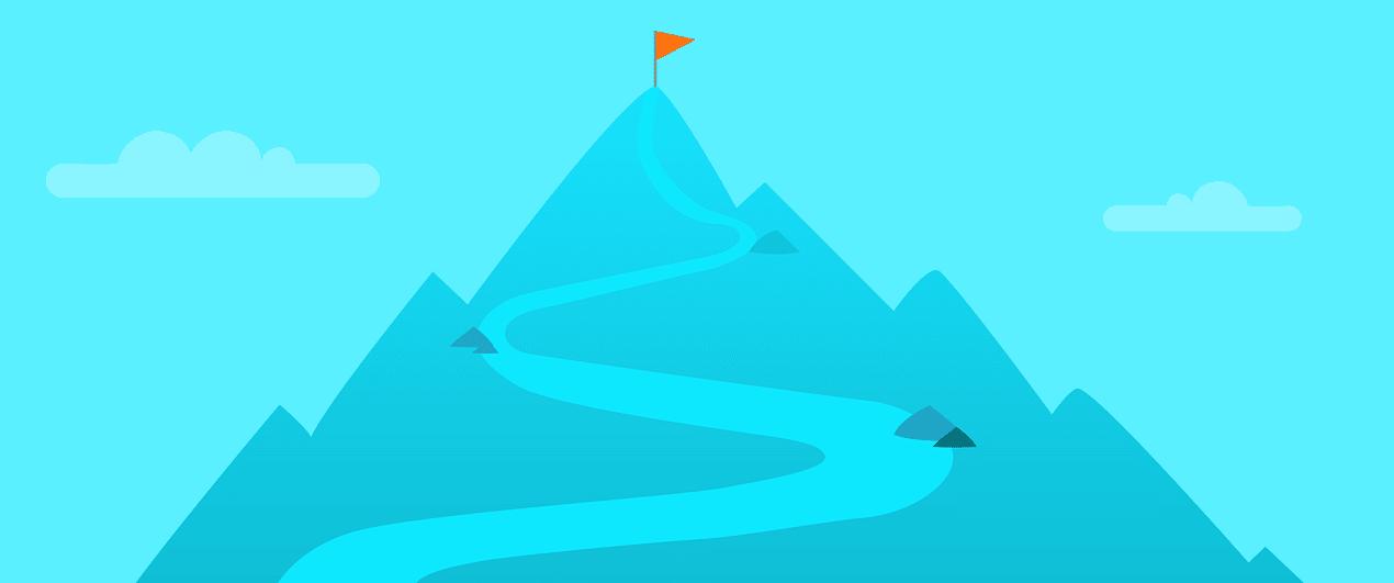 iconografía de una montaña con un sendero y una bandera en la parte superior de color rojo